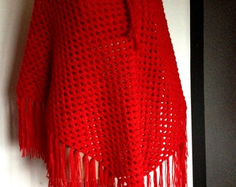 Red shawl - hand-knitted - ref 165