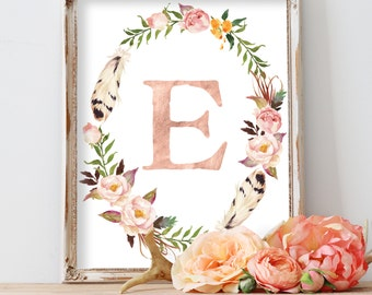 Personalized Nursery Art, Baby Gift, Nursery Initial Print, Blush Nursery Wall Art, Floral Nursery Monogram, Floral Wreath Letter, Rose Gold