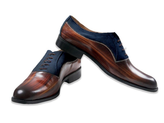 Leather man shoes, wood effect, navy suede, Oxford, hand painted. made in Italy
