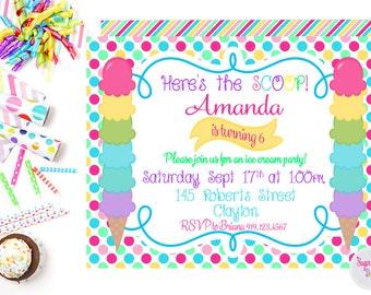 Ice Cream Party Invitation, Birthday Party Invite, Ice Cream Birthday Party, Printable Birthday Party Invitation, Summer Birthday Party