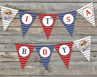 It's A Boy Sports Baby Shower Banner, All-Star
