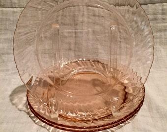 """Three Vintage Arcoroc Rosaline """"Pink Swirl"""" Dessert Plate"""