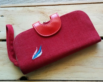 1980s red fabric embroidered cute Star Brand wallet coin purse wrist strap