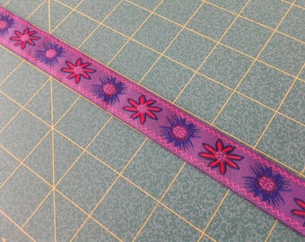 Purple trim, 1 inch wide, colorful woven trim, ribbon, sold by increments of 3 yards, sewing trim, decorative trim