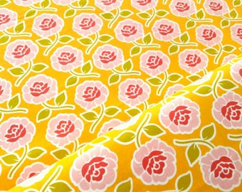 Rose Print Fabric, Pink roses, trellis, yellow background, bright floral, farm girl by Riley Blake, quilting, by the yard