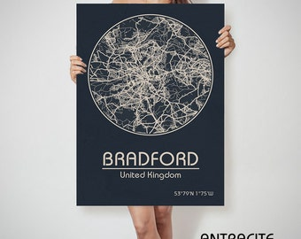 BRADFORD UK map England Bradford art, Bradford print, Bradford, Bradford map, Bradford England, Bradford wall art, Bradford city map