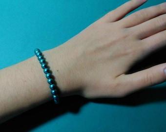 Teal Blue Stretchy Hematite Bracelet