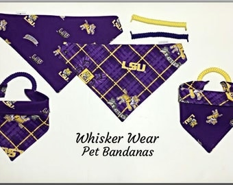 Louisiana football fabric , reversible custom pet bandana, no tie no collar method, dog bandana, dog scarf, pet scarf, college football