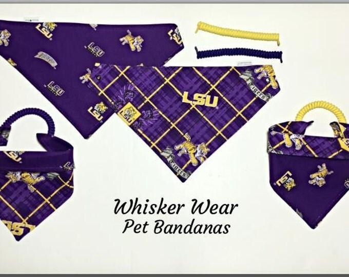 Louisiana football fabric , reversible custom pet bandana, no tie no collar method, dog bandana, dog scarf, pet scarf, college football