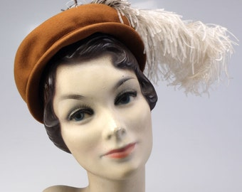 1940s Caramel Felt Hat with Ostrich Feather