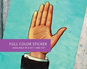 Loteria La Mano Mexican Retro Illustration Art Sticker