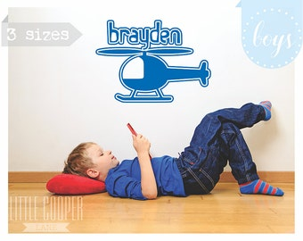 Boys Helicopter & Name Custom Design Wall Decal Vinyl Sticker_ 3 Sizes_For Nursery OR Kids Room_ID#1299