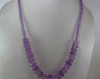 Valentine Day Gift, Natural Amethyst Beaded Necklace, February Birthstone Necklace ,Valentine Gift