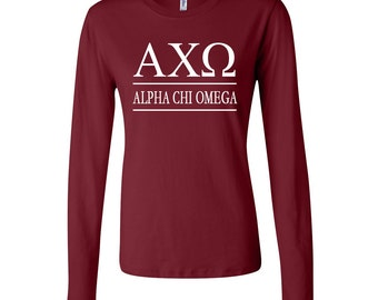 alpha chi omega fitted long sleeve tshirt achio t shirt alpha chi omega t shirt axo greek letter long sleeve tshirt a chi o top