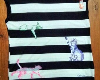 Cat stripey shirt S/M