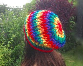 Crochet rainbow beanie, slouch beanie, rainbow hat, Pride beanie, LGBT colours, crochet slouch hat, striped beanie, rainbow stripe, adult