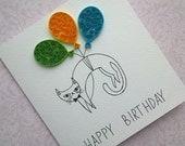 Birthday Cat Card, Cat Card, Kitty Cat, Kitty Cat Card, Cats, Quilling Card, Funny Birthday Card, Funny Greeting Card, Birthday Card