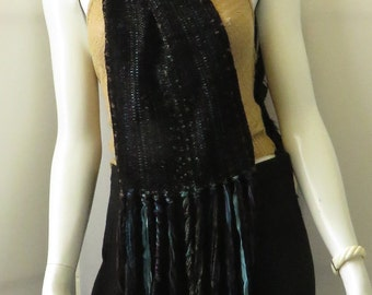 Vintage BOHEMIAN Hand Woven Multi Colored Silk Ribbon Scarf w/ Feathers.