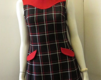 Vintage 1960's Hand Made Wool Fitted Back, Red & White Tartan Shift Dress / Size 4 .