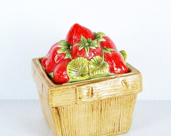 Ceramic Strawberries Box, Kitchen Berry Basket Centerpiece, Container, Storage, Red Strawberry Decor