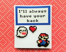 3D Mario Greeting Card - Super Mario Card, Birthday, Geeky Anniversary, Geeky Valentine, Nintendo Card, Mini Perler Beads, Mini Hama Beads