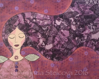 MIXED MEDIA COLLAGE 'Dream' ~ original artwork on canvas by Amanda Stelcova