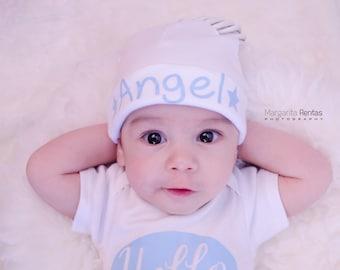 Newborn Boy Name Hat...newborn baby hat...blue stars newborn hat...new baby hat...baby boy hat...take home hat...newborn photo prop hat