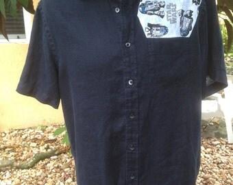 Star Wars Men's Shirt- Star Wars R2D2 Shirt- Men's Star Wars Gift- Linen- Eco- Size Medium- Sale 30.00