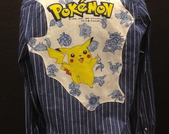 Pokemon Shirt Men's or Women's Pokemon Button Down Shirt PsyDuck  Pikachu Pokemon Gift Vintage Pokemon Fabric