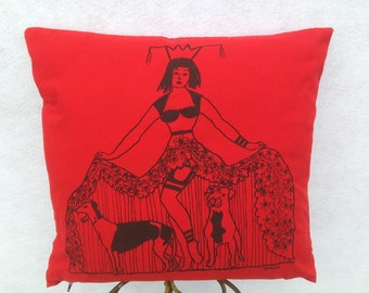 Pin Up Girl Hiding Her Pit Bull And Greyhound Under Her Skirt. Original Hand Drawn Hand Silk-screen Pin Up Girl Hiding Her Dogs Pillow