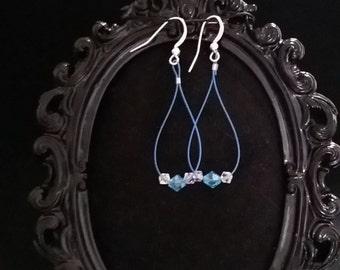 Lightweight blue crystal earrings