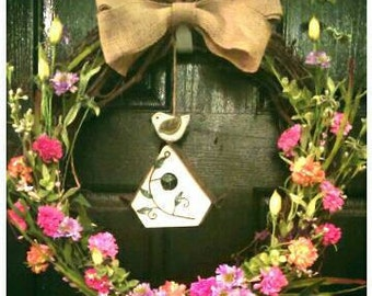 Garden wreath, summer wreath, bird house, wreath with bird house, Floral wreath, mothers day