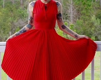 Red Bombshell Retro Dress Handmade/Vintage