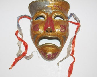 Vintage Mask Solid Brass Wall Hanging - T663