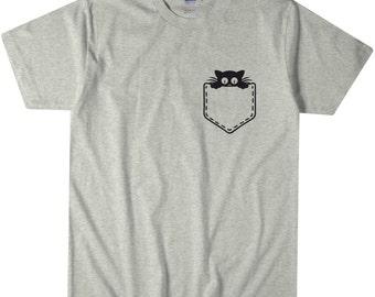 Cat T-Shirt Cat Kitten Pocket Great for Cat Lady Pet Lovers Men Women Kids Tee Small-3XL