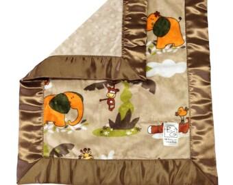Safari Security Blanket Brown Green Rust