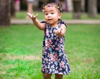 SALE Baby Girl Dress,Girl flower dress,baby Dress,toddler flower Dress,Summer Dress,girls Flower Dress,A-line Girls Dress, blue flower dress