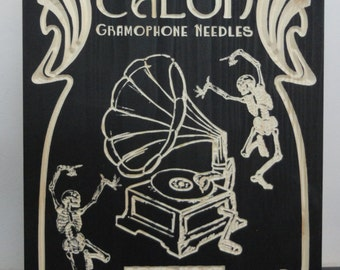 Talon Gramophone Needles | Wooden Sign | Retro Vintage Sign Turntable Vinyl Skeletons Dancing Record Player Art Nouveau Music Related