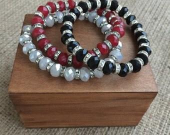 Crystal Bracelet Set,Czech Crystal Bracelet ,Red Crystal Bracelet,Black Crystal Bracelet,Healing Bracelet,White Crystal Bracelet
