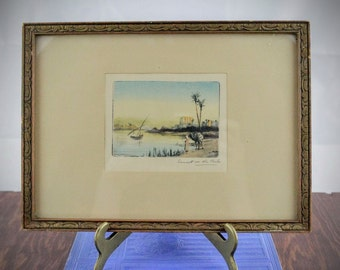 Vintage Drypoint Etching 'Sunset on the Nile' - Hand Painted Dry Point Intaglio Etching - Egyptian Revival Art - Etching of River in Egypt