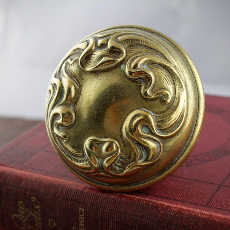 art nouveau door knob antique brass door handle vintage