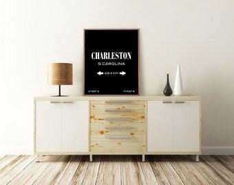 CHARLESTON PRINT. Charleston, South Carolina. Charleston Art. City Coordinates. Typography Print. Printable Art. Minimalist Poster.