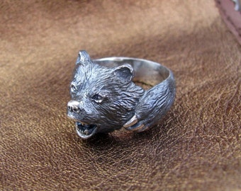 Bear Ring.Viking Ring.Viking Bear.Silver Bear Ring.Scandinavian Ring.Bear Charm.Bear Jewelry.Silver Bear Jewelry.Silver Bear Necklace.Bear