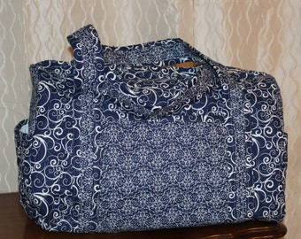 Navy quilted duffel Bag