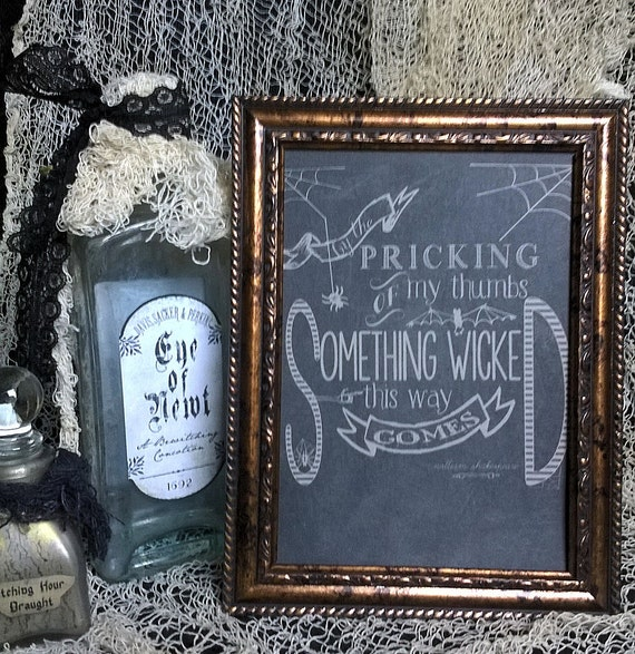 """Halloween Framed Print """"SOMETHING WICKED This Way COMES"""" 5X7 Framed Table Wall or Shelf Saying Sign Decor Cute Chalkboard Look Decor"""
