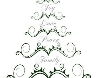 christmas svg, christmas tree svg, Love svg, Peace svg, Family svg, Joy svg, Xmas svg, Holidays svg, Merry Christmas svg, Winter svg, svg