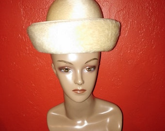 """Cream Felted Wool Hat From """"Originals by Lee Bury of Dallas"""""""