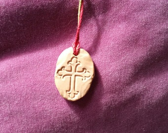 Essential Oil Pendant (Ornate Cross - red, yellow, green cord)