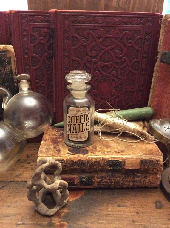 Vampire, Coffin Nails, Potion Bottle - Apothecary Necklace Charm (0010)