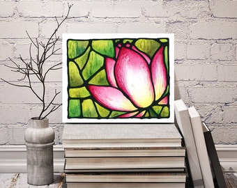 Lotus Flower Print - Abstract Pink Lotus Flower Art - Floral Wall Hanging - Bedroom Art Decor - 8 x 10 inch - Signed by Artist Kathy Lycka